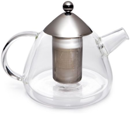 BonJour Insulated Tear Drop Glass Teapot