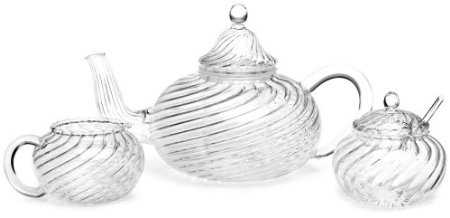 BonJour Swirl Oval Glass Teapot with Sugar and Creamer